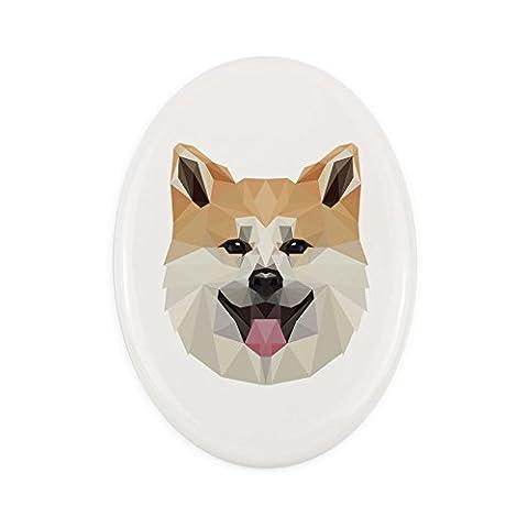 Akita Inu, Grabstein Keramik Plaque mit einem Bild von einem Hund, geometrisch (Akita Inu Hund)