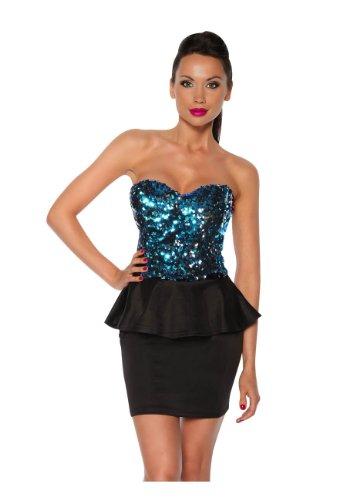 Angies Glamour Fashion - Robe - Peplum - Femme noir/turquoise