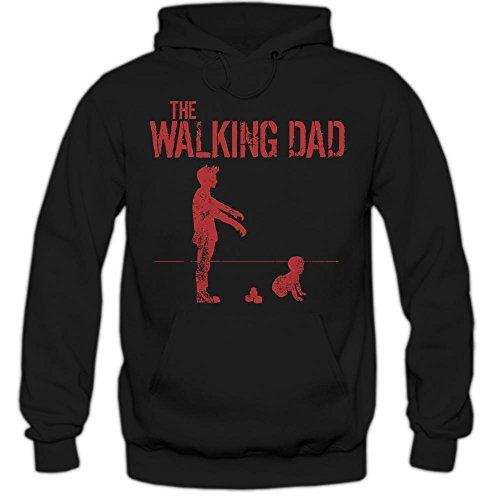 The Walking Dad #5 Hoody | Papà | Evoluzione | Film d'epoca | Culto | Detti | Fun | Uomo | Felpa Con Cappuccio , Farbe:Schwarz (Black F421);Taglia:X-Large