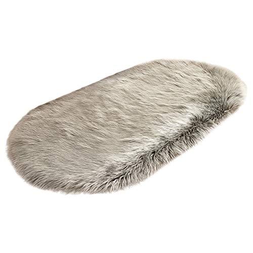 ODJOY-FAN Oval Teppich, Shaggy-Teppich,Weich Teppich Stuhl Abdeckung Künstlich Schaffell Sitz Matten Teppich Wolle Warm Behaart Teppich 40 x 80 cm(B,1 PC) -