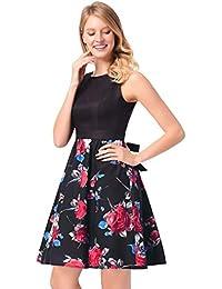 Vestido estampado Rose Robe Retro Swing Casual Vintage Vestidos sin mangas Swing Mujer Vestido de Fiesta corto…