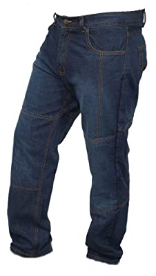 Men's Blue Denim Protective Motorcycle Motorbike Biker Trousers Pants Jeans Reinforced with Aramid Protection Lining