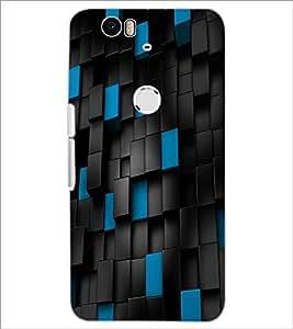 PrintDhaba Blue Black Bricks D-1169 Back Case Cover for HUAWEI NEXUS 6P (Multi-Coloured)