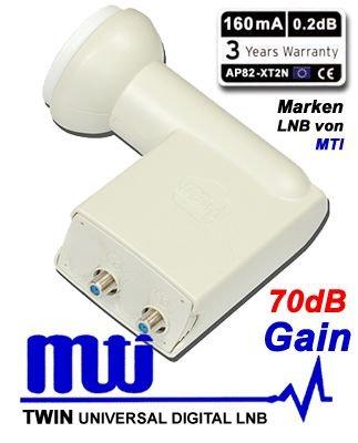 MTI High Line MTI AP82-XT2N Twin LNB MTI HIGH LINE 0,2 dB AP82-XT2N / FULL HD / 3D ready 1x Sat. / 2 Anschlüsse (2 Stück)