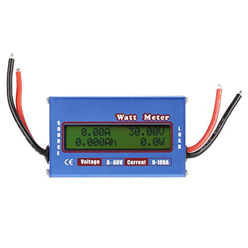 Akozon Watt Power Tester,Wattmeter DC Power Analyzer Hohe Präzision Watt Volt Amp Energiezähler Analyzer Tool(0-100A 0-60V) Dc Power