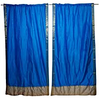 Mogul Interior Indian Vintage Curtains Blue Silk Drapes Window Treatment Pair Set 84x44