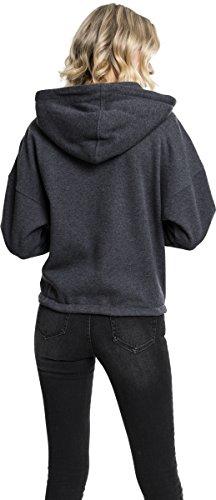 Urban Classics Damen Kapuzenpullover Ladies Kimono Zip Hoody Grau (Charcoal 91)