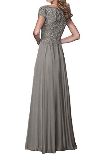 ivyd ressing robe Exquisite courte ligne A Manches Mousseline et pointe longue Party Prom robe robe du soir Gris - Gris