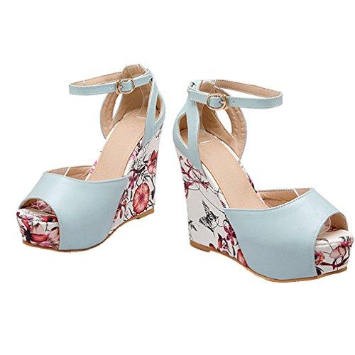 YE Damen Peep Toe Wedges Knöchelriemchen High Heels Plateau Pumps Sandalen mit Keilabsatz Schuhe Blau