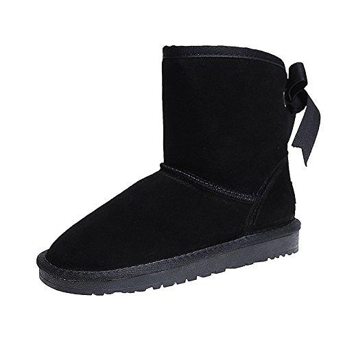 Hsxz Femmes Chaussures Pu Hiver Bottes De Neige Plat Bout Rond Bottes Mid-calf Bowknot Bottes Pour Vêtements De Sport Noir Gris Beige Rose Rose
