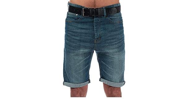 Distressed Detail Turn Mens Crosshatch Keasy Denim Shorts In Denim Button Fly