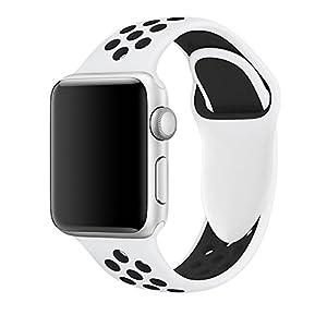 Cinturino Apple Watch 42mm, Cinturino in Silicone Morbido per Braccialetti per Apple Watch Sports Serie 3 Series 2 Series 1 (42mm Platino Puro/Nero)