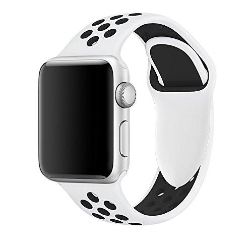 Apple Watch Armband 42mm, Soft Silikon Ersatz Uhrenarmbänder für iWatch Serie 3 Serie 2 Serie 1 Sport (42mm Pure Platinum/Schwarz)