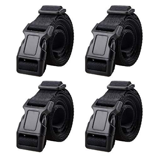 Azarxis 25mm Schwarz Nylon Gurtband mit Verstellbare Schnallen, 4 Stück Gurtband (Schwarz - 1.5m) -