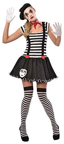 French Mime Artist Kostüm - Ladies 5 Piece Black & White Sexy French Mime Artist Theatrical Circus Performer Carnival Fancy Dress Costume Outfit UK 8-16 (UK 8-10)
