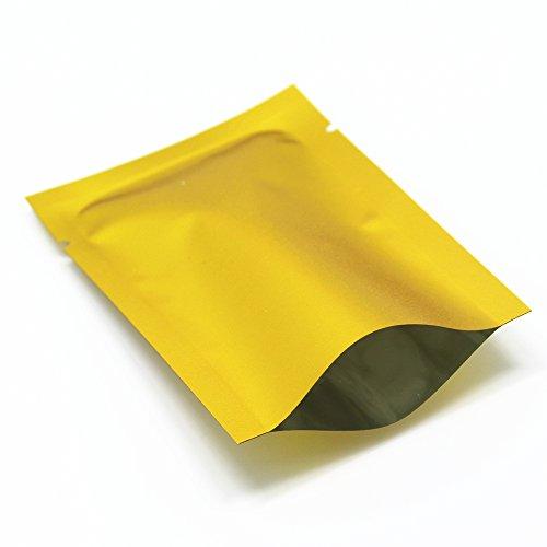 Matt Alufolie Golden Heißsiegel Tasche Mylar Alufolie Kaffee Süßigkeiten Pulver Verpackung Öffnen Sie Oberseite Vakuumbeutel Aluminium Mylar Lebensmittel Lagerung Verpackung 200 Stück 8x12cm