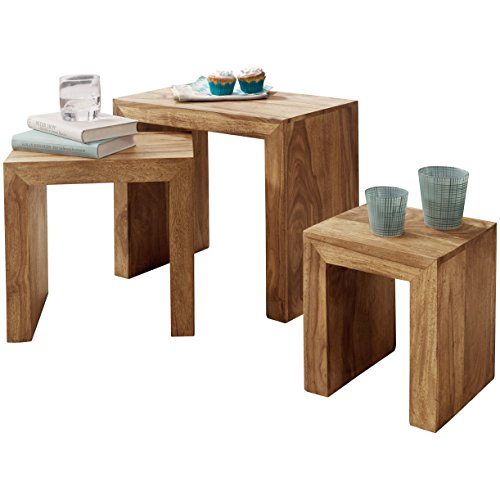 Wohnling wl1.440 Ensemble de 3 Tables gigognes Tables d'appoint en Bois d'acacia Massif