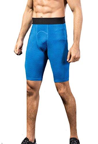 CuteRose Men's Gym Running Sports Sports Performance Activewear Tights Legging Blue L 3/4 Base Layer Pants