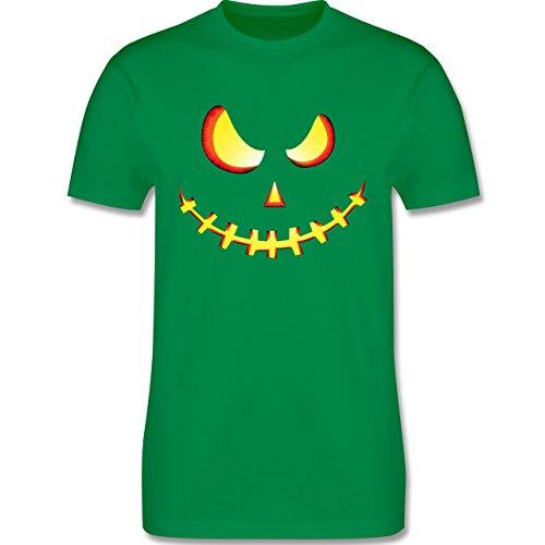 Shirtracer Halloween - Gruseliges Kürbis-Gesicht - Herren T-Shirt Rundhals Grün
