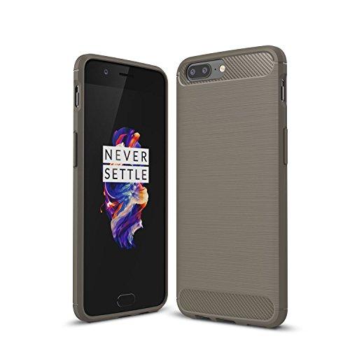 OnePlus 5 Hülle, KuGi OnePlus 5 Schutzhülle Kohlenstoff -fasern Cover Hülle Case für OnePlus 5 Smartphone (Grau)