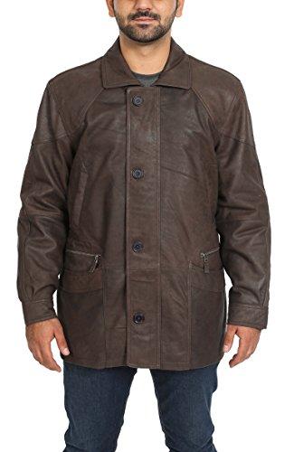 Manteau en Cuir Véritable Parka pour Homme Overcoat Classique en Hiver M2 Marron (2XL)