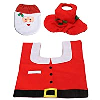 Santa Claus Rug Toilet Seat Cover Bathroom Set Merry Christmas Decorations for Home New Year Navidad Decoration