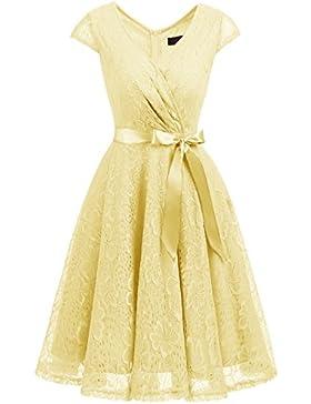 Dresstells Donna Vintage Vestito Pizzo Casual Cerimonia Manica Corta Vestiti