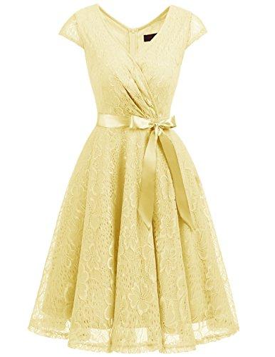 Dresstells Elegant Spitzenkleid Knielang V-Ausschnitt Brautjungfernkleid Cocktailkleid Abendkleider...