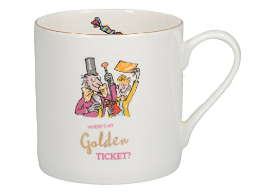 Creative Tops Tasse groß mit Motiv Roald Dahl Charlie und die Schokoladenfabrik Illustration mit echten Gold Rand, Bone China Porzellan, weiß/mehrfarbig, 11x 11x 8,5cm (Bücherregal Schokolade)
