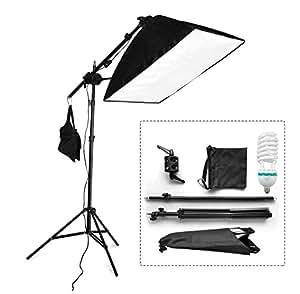 BPS Softbox Kit éclairage Boite Lumière Photo Studio 125W 5500K Softbox pour Photo Video Studio 50x70cm rectangulaire assemblage automatique avec bras extensible pour studio photo, complément accessoire équipement photographique