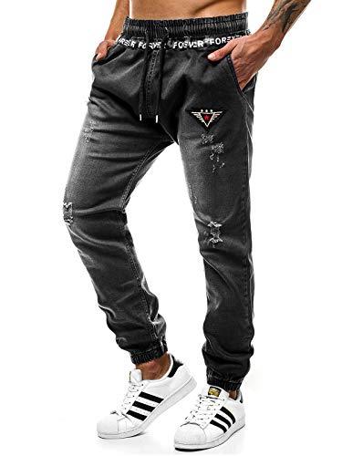 OZONEE Herren Jogg Hose Baggy Täglichen Hose Regular Jeans Sporthose Freizeit Hose Jogginghose Freizeithose OT/2035S SCHWARZ L - Herren-baggy-hose