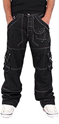 Peviani Mens Boys Cargo Combat Star Jeans Time Is Nappy G Boy Urban Hip Hop Wear
