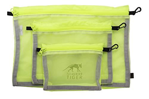 Tasmanian Tiger Mesh Pocket Set Safety Yellow High Vis Rucksack Organizer Zusatztaschen