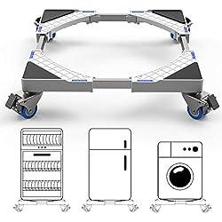 DEWEL Socle Lave Linge Base de Sèche-linge avec 4 Roues Réglable 45 cm-69 cm Charge 300 kg Réduction du Bruit Antichoc (Version Mise à Jour)