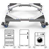 Dewel Base mobile regolabile 44,8 ~ 69 cm per lavatrice multifunzione con 4 ruote girevoli doppie in gomma Rondella, asciugatrice e supporto per frigorifero, 360 ° rotazione