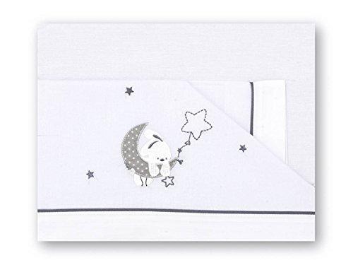 Pirulos Luna Juego de Sábanas 100% Algodón para Cuna de 60x120 cm para Invierno y Verano, Color Gris...