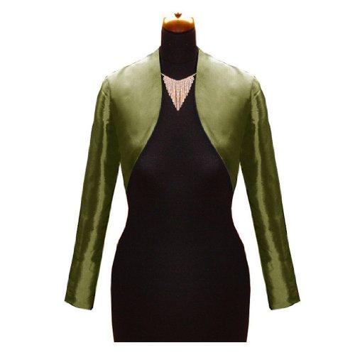 sexyher taffetas / matt robe de satin veste bol¨¦ro en plusieurs couleurs darkmiltarygreen