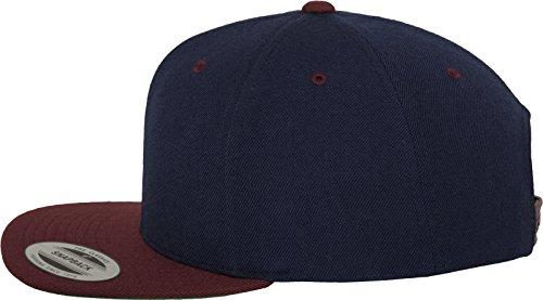 Yupoong Flexfit Unisex Kappe Classic Snapback 2-Tone, zweifarbige blanko Cap mit geradem Schirm, One Size Einheitsgröße für Männer und Frauen, Farbe nvy/maroon - 3