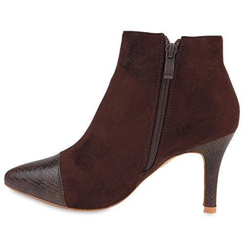 Spitze Damen Stiefeletten Materialmix Ankle Boots Schuhe Braun