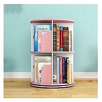 Gokiu Storage shelves Creative 360 ° Rotating Bookshelf 2 Tier Modern Simple Students Bookcase Floorstanding Children Corner Shelf,Pink