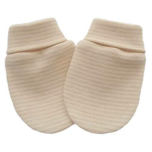 Coton bio tricot tissu nouveau-né anti-rayures moufles mitaines gants bébé, couleur marron clair rayé (0-3 mois, marron clair rayé)