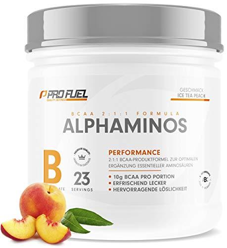 ALPHAMINOS | BCAA Pulver 2:1:1 | Das ORIGINAL von ProFuel | Essentielle Aminosäuren | Unfassbar leckerer Geschmack | 300g - ICE TEA PEACH (Eistee Pfirsich)