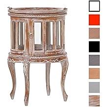 CLP Mesa rodonda de té de madera de caoba, Diámetro: 50 cm, estilo rústico rústico lavado