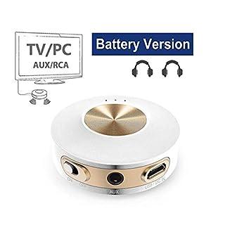 Avantree Priva IIA Portable Bluetooth 4.2 Transmitter Sender für TV/PC, aptX Low Latency für 2 Kopfhörer, Eingebaute Batterie, RCA, 3.5mm Wireless Audio Adapter