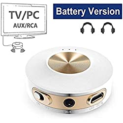 Avantree Priva IIA Bluetooth 4.2 Transmisor Portátil, aptX Baja LATENCIA para Dos Auriculares, Uso Interior y Exterior, RCA, Adaptador de Audio inalámbrico de 3,5 mm para TV/PC