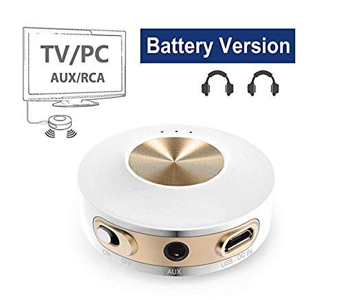 Avantree priva iia trasmettitore bluetooth 4.2 portatile in classe 1, tecnologia aptx a bassa latenza per due cuffie, uso interno ed esterno, rca, adattatore audio senza fili 3.5mm per tv/pc