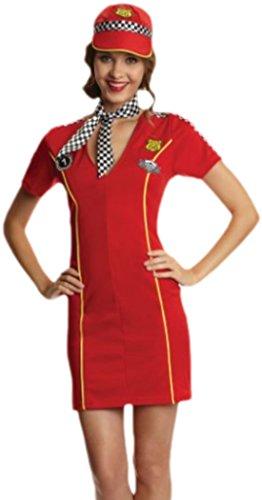Faschingsfete Damen Racing Girl Kleid Kostüm Karneval Fasching, 40, Rot
