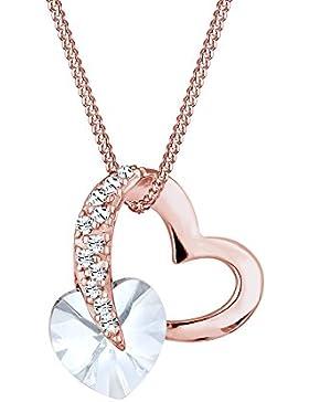 Elli Damen-Kette mit Anhänger Herz Silber vergoldet Swarovski Kristall