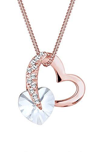 Elli Damen-Halskette mit Herz Anhänger und Swarovski Kristallen in 925 Sterlingsilber rosé vergoldet - 45cm Länge
