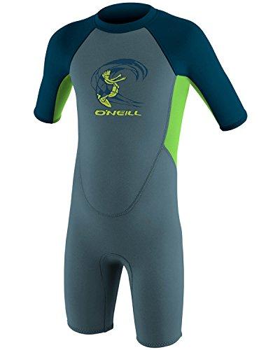 O';Neill Toddler Kids Youth Kinder Junior Junior 2MM Zurück Zip Shorty Neoprenanzug Dusty Blue Dayglo Slate - YKK Back Zip System